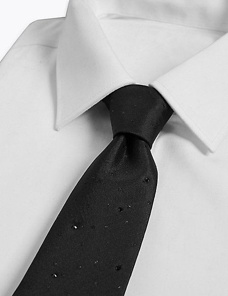 Silk Rich Textured Tie Made with Swarovski® Elements