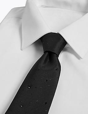 Silk Rich Textured Tie Made with Swarovski® Elements