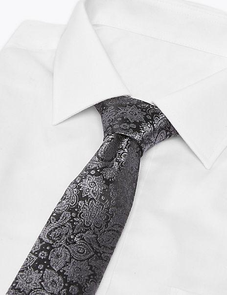 Silk Slim Paisley Swarovski Crystals Tie
