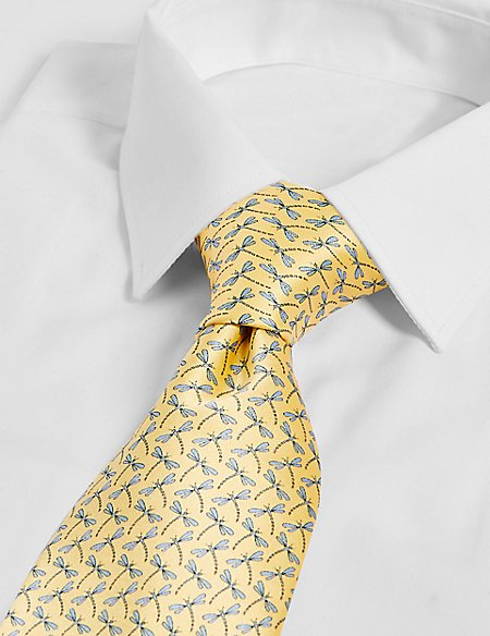 Pure Silk Dragonfly Print Tie