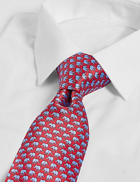 Pure Silk Elephant Print Tie
