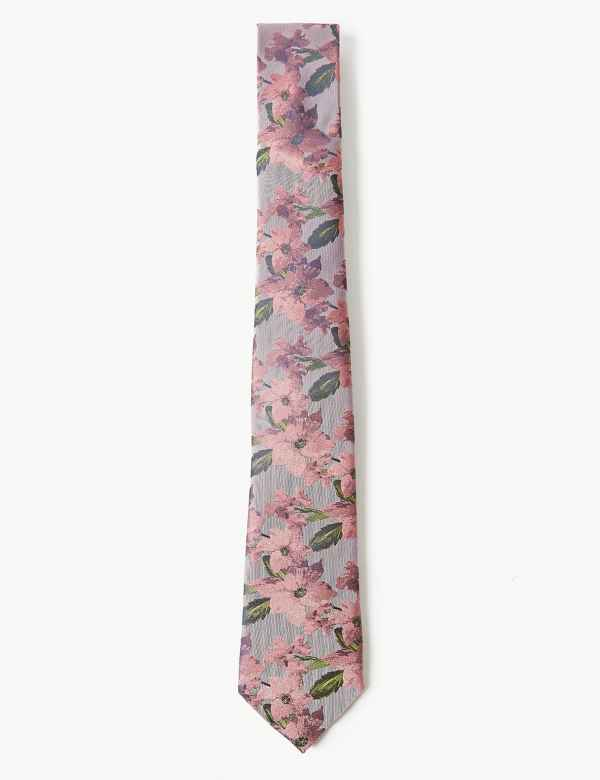 c31a15b1d2dd Pure Silk Floral Tie. M&S Collection Luxury