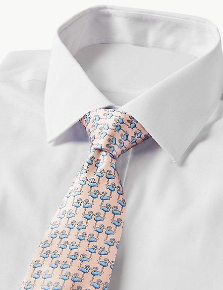 Pure Silk Flamingo Print Tie