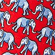 Pure Silk Elephant Print Tie, RED MIX, swatch