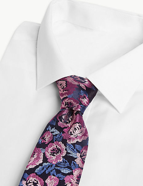 Luxury Silk Rose Design Tie