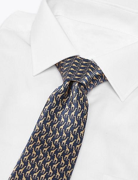 Luxury Silk Giraffe Print Tie