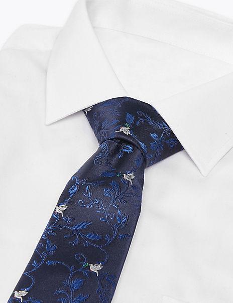 Luxury Pure Silk Turtle Dove Tie
