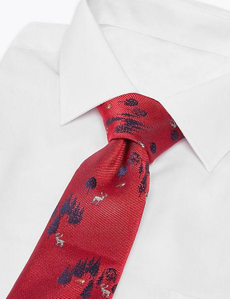 Luxury Pure Silk Forest Scene Tie