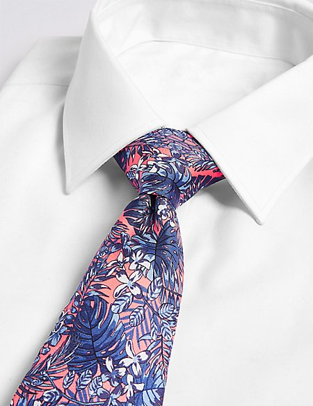Pure Silk Tropical Leaf Print Tie