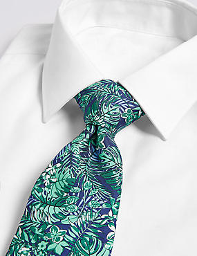 Pure Silk Tropical Leaf Print Tie