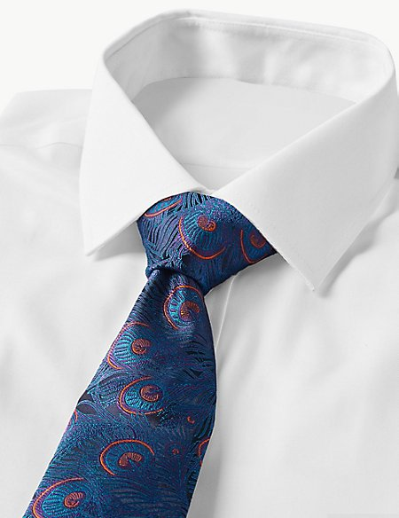 Pure Silk Made in Italy Peacock Feather Tie