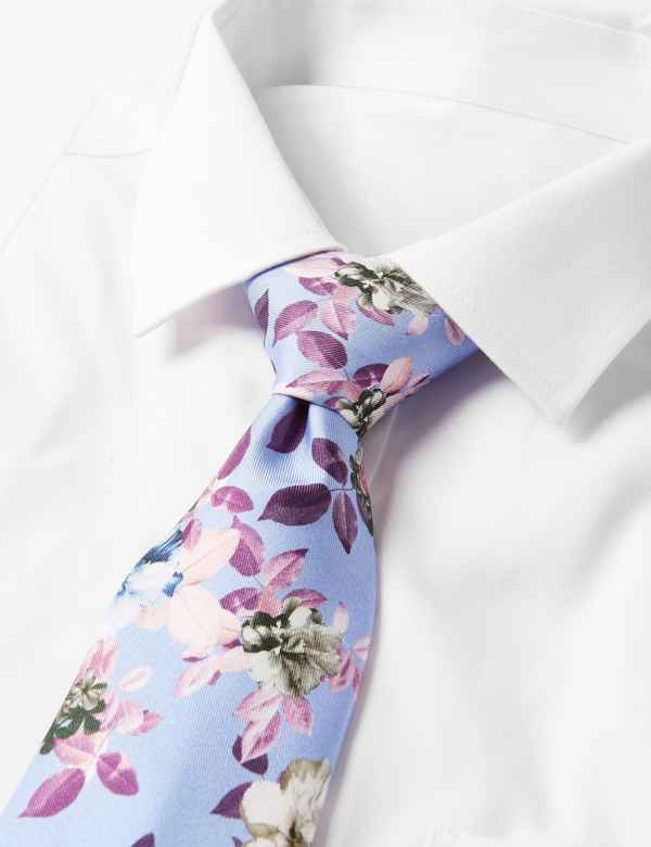ab5d9db067ab Pure Silk Floral Print Tie. M&S Collection Luxury
