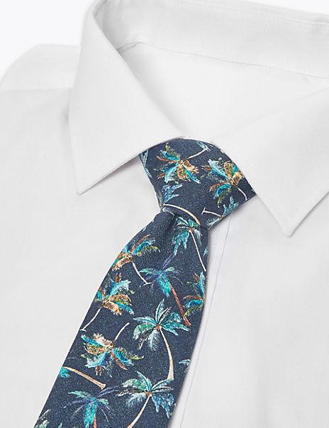 Palm Print Slim Tie
