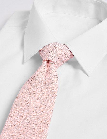 Silk with Linen Textured Plain Tie