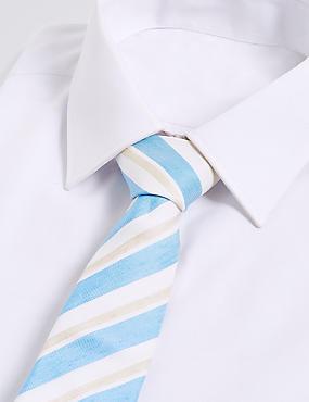 Silk with Linen Shadow Club Stripe Tie