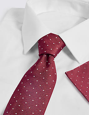 Pure Silk Spotted Tie & Pocket Square Set