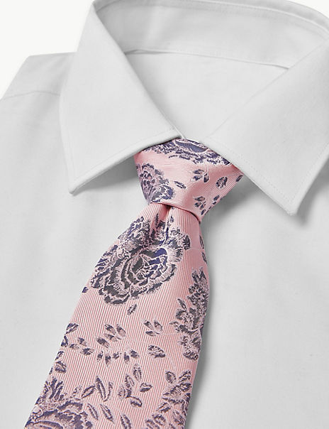 Pure Silk Rose Floral Tie