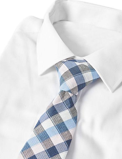 Silk & Linen Blend Checked Tie