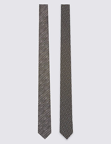 2 Pack Skinny Fit Geometric Tie