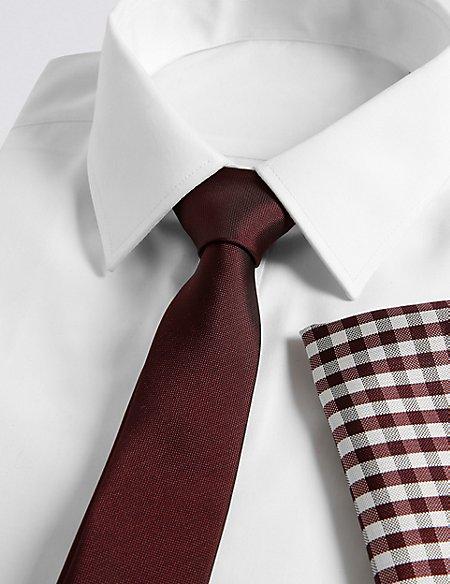 Checked Tie & Pocket Square Set