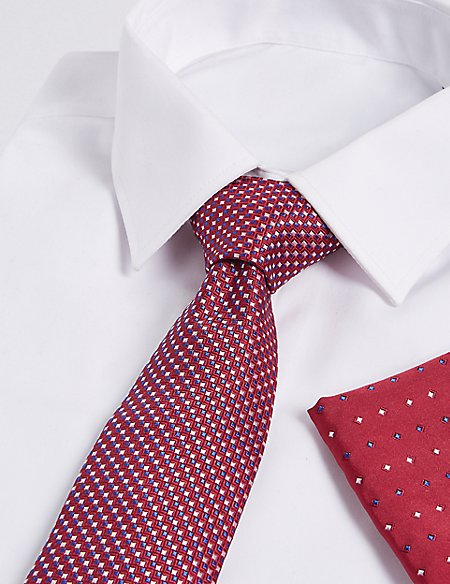 Pure Silk Textured Tie & Pocket Square Set