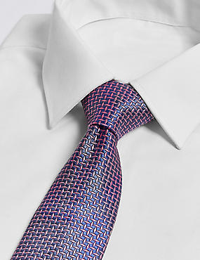 Pure Silk Cross Hatch Geometric Tie