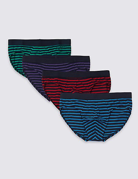 4 Pack Stretch Cotton Rich Striped Slips