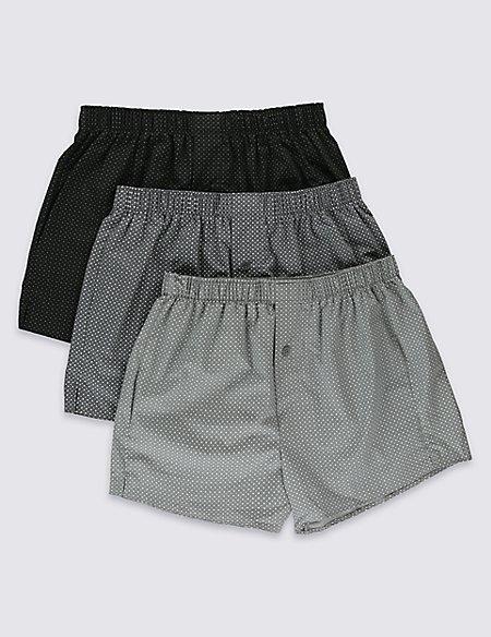 3 Pack Pure Cotton Easy to Iron Mono Bubble Print Boxers