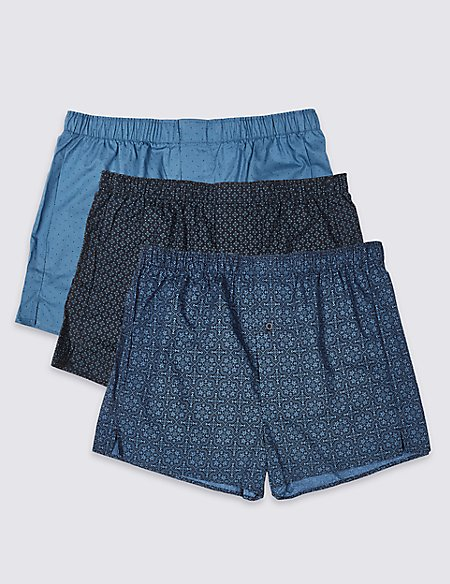 3 Pack Pure Cotton Printed Boxers