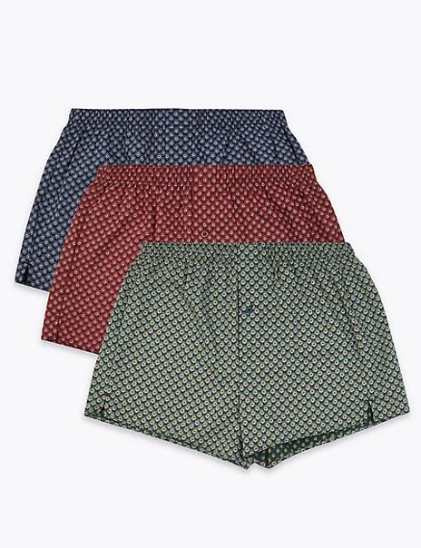 3 Pack Cotton Peacock Print Boxers