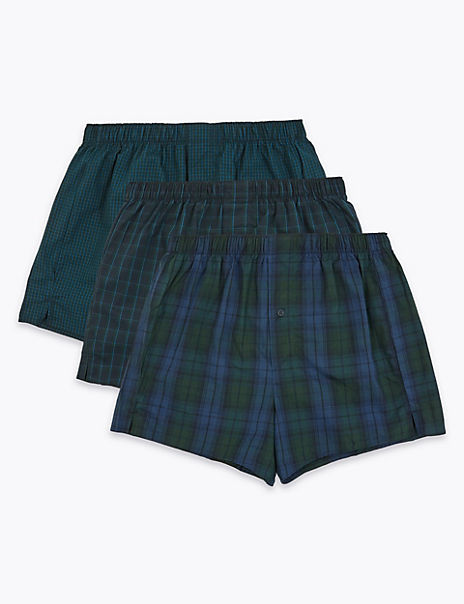 3 Pack Cotton Checked Boxers