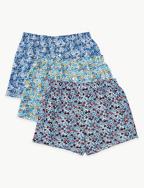 3 Pack Cotton Micro Floral Boxers