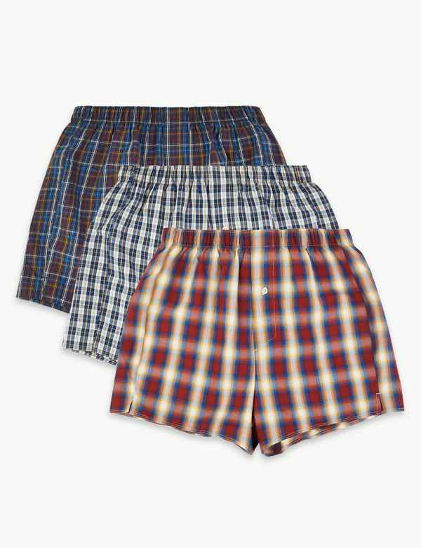 29656fec932 3 Pack Pure Cotton Checked Boxers