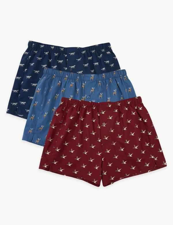 55831f86a03b31 3 Pack Cotton Animal Print Boxers