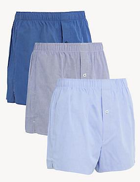 3pk Pure Cotton Woven Boxers