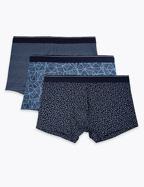 3 Pack Cotton Geometric StayNew™ Hipsters