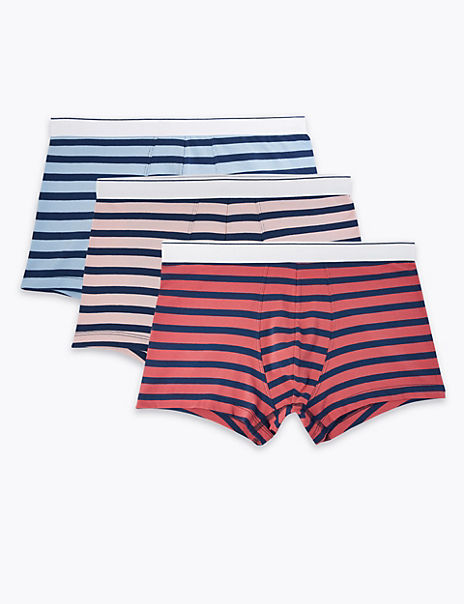 3 Pack Cotton Striped StayNew™ Hipsters