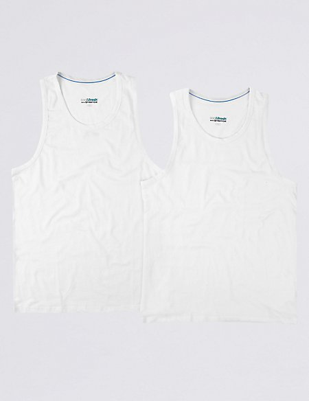 2 Pack 4-Way Stretch Cotton Vests with StayNEW™