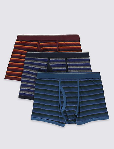 3 Pack 4-Way Stretch Cotton Cool & Fresh™ Orange Ombre Trunks with StayNEW™