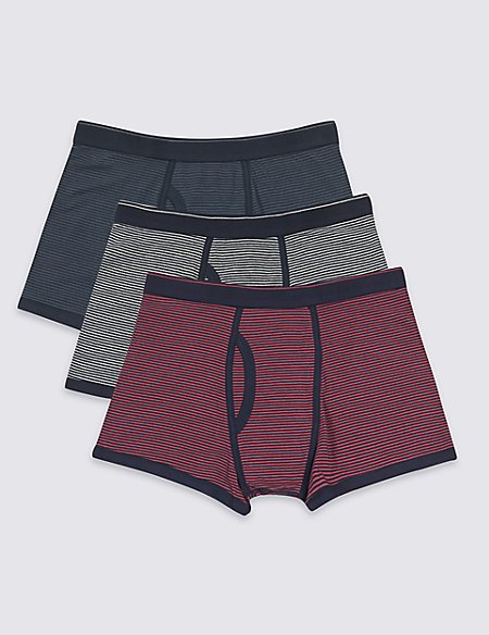 3 Pack Cotton Rich Striped Trunks
