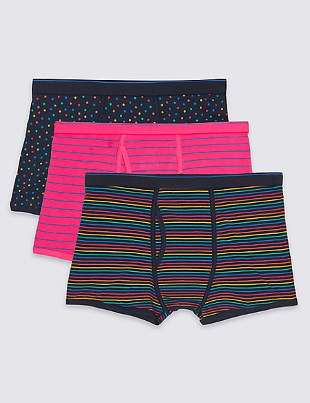3 Packs Cotton Rich Trunks