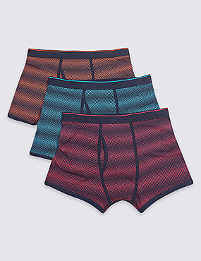3 Pack Cotton Rich Spotted Trunks
