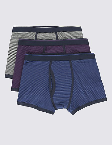 3 Pack 4-Way Stretch Cotton Cool & Fresh™ Feeder Striped Trunks with StayNEW™