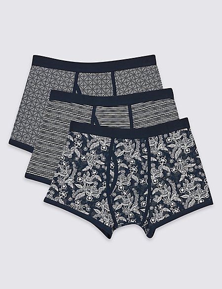 3 Pack Cotton Rich Printed Trunks