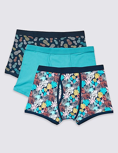 3 Pack Cotton Rich Trunks with Stretch
