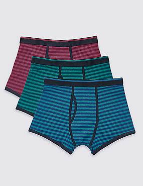 3 Pack Cotton Rich Striped Cool & Fresh™ Trunks