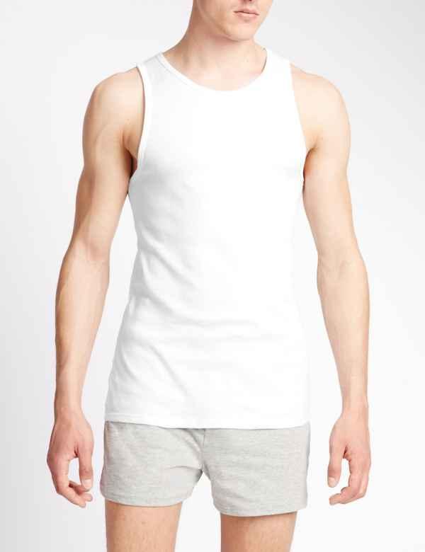 Classic Sleeveless White Vest Medium Large X Large Mens 2 Pack