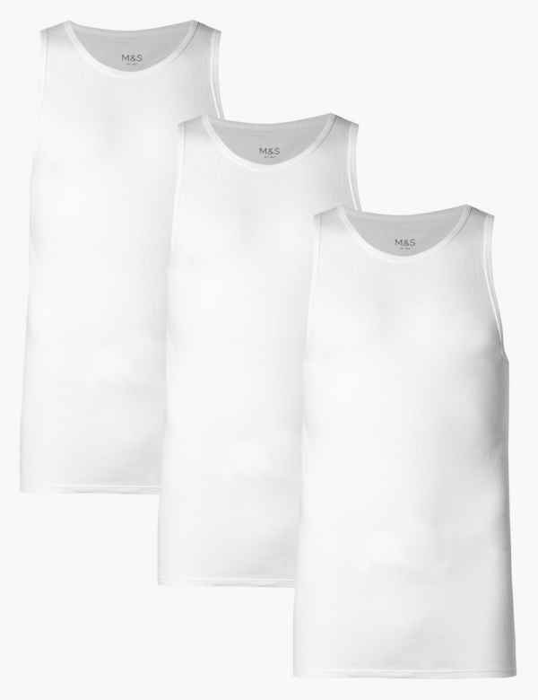 d489a332bfcd8 3 Pack Pure Cotton Sleeveless Vests