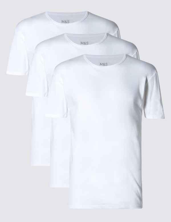 f9a1c5cdaba983 3 Pack Pure Cotton Crew Neck Vests