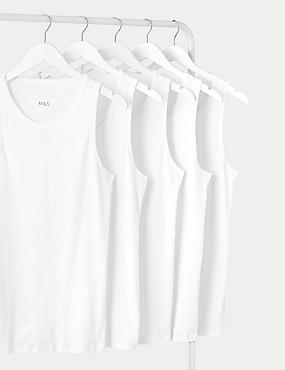 5 Pack Pure Cotton Vests